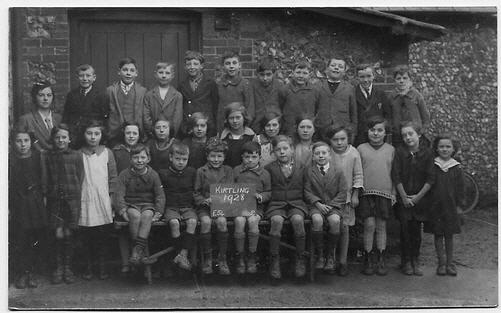 Children at Kirtling School in 1928 - photo courtesy of Rodney Vincent