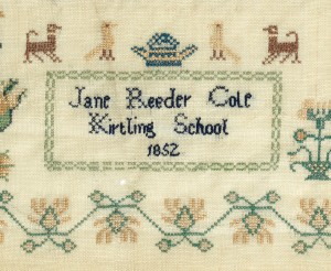 Embroidery sampler/Border sampler. Reeder Cole, Jane, Kirtling. A repeating honeysuckle border pattern surrounds the main body of the sampler. Narrow repeating geometric and floral border patterns divide the sampler into horizontal sections and form a panel at the bottom containing the inscription 'Jane Reeder Cole/Kirtling School/1852'. At the top there is an alphabet and numerals 1-14. Beneath is another alphabet and various detached motifs arranged around two inscriptions ' Fear God and keep his commandments for/this is the whole duty of man Eccles. 12Ch' and' favour is deceitful/and beauty is vain/but a woman that/feareth the LORD/she shall be prais'd'. Woollen border embroidered with coloured silk and cotton threads in cross-stitch. A double blue line selvedge runs along the sides; both top and bottom are hemmed. Length 41 cm, width 33.5 cm, 1852. English.